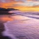 Colorful sunrise over new Zealand coast