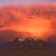 Volcano Cerro Colchane (Bolivia) at sunset