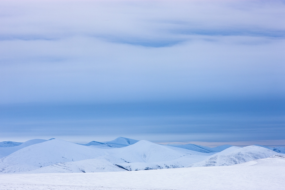 Yukon, snow-covered tundra in Richardson Mountains, late fall